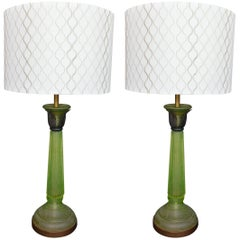 Pair of Green Glass Lamps in the Style of Daum