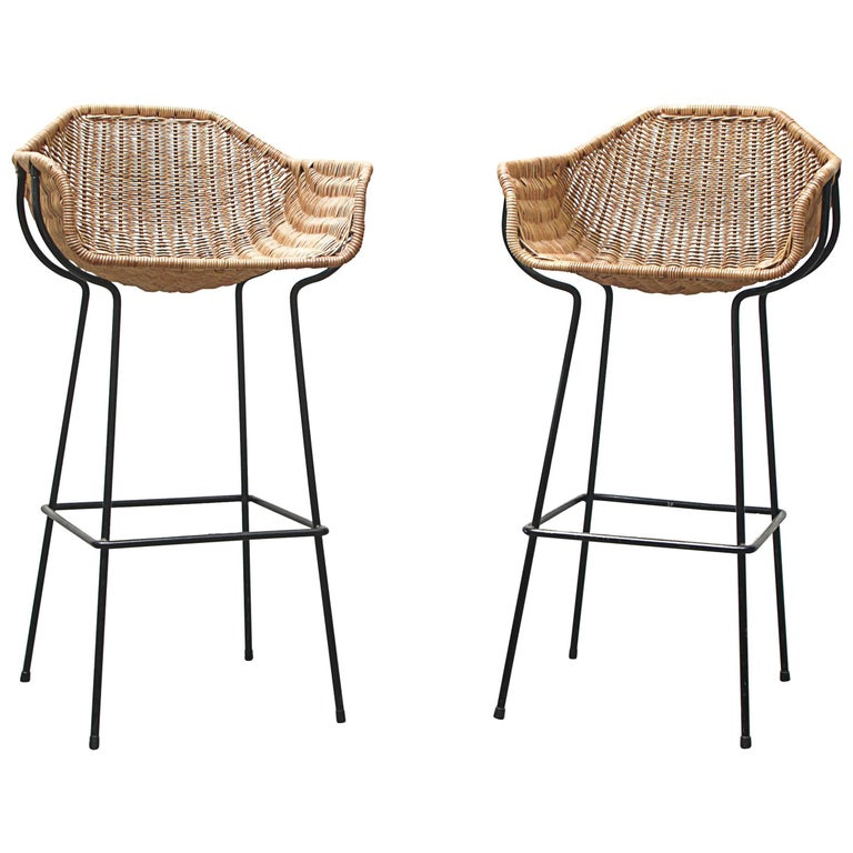 Pair of Rare Dirk Van Sliedregt Rattan Bucket Bar Stools For Sale