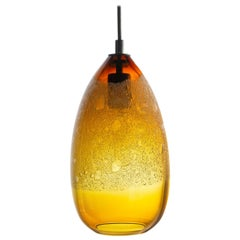 Modern Hand Blown Lighting, Amber Cone Bubble Pendant