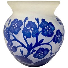 1970s Austrian Vintage Art Nouveau Style Glass Vase with Blue Flowers & Leaves