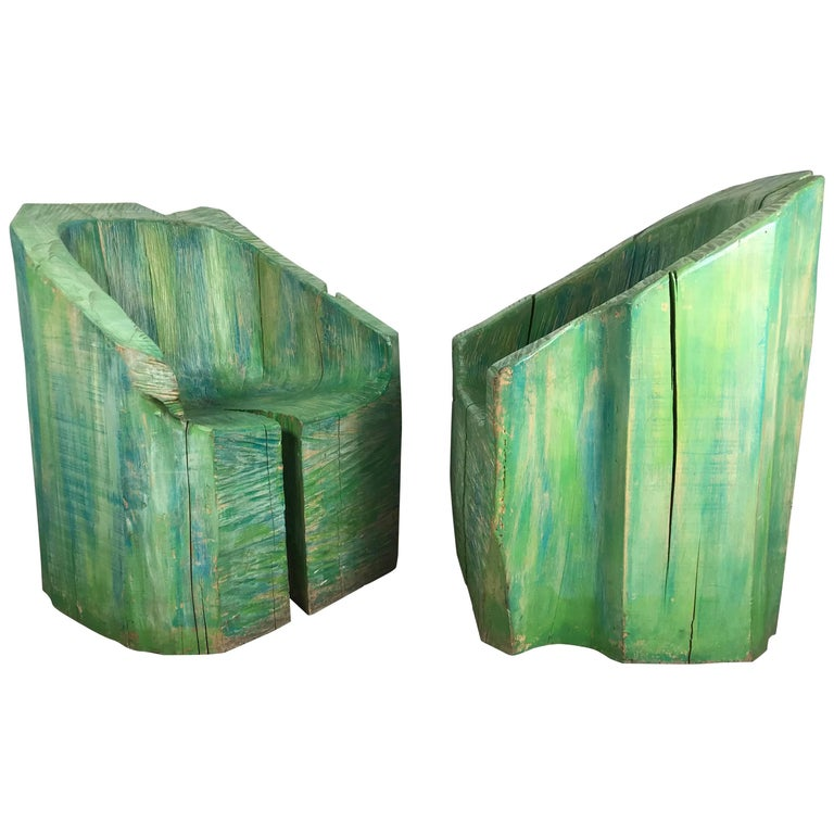 Pair of Stunning Stump Carved and Painted Wood Chairs, French, circa 1970s