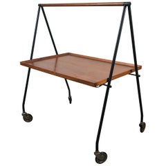 Stylized Teak and Iron Collapsible Tray Table or Cart by Cosack