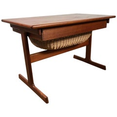 Danish Modern Table with Basket Drawer after Hans Wegner
