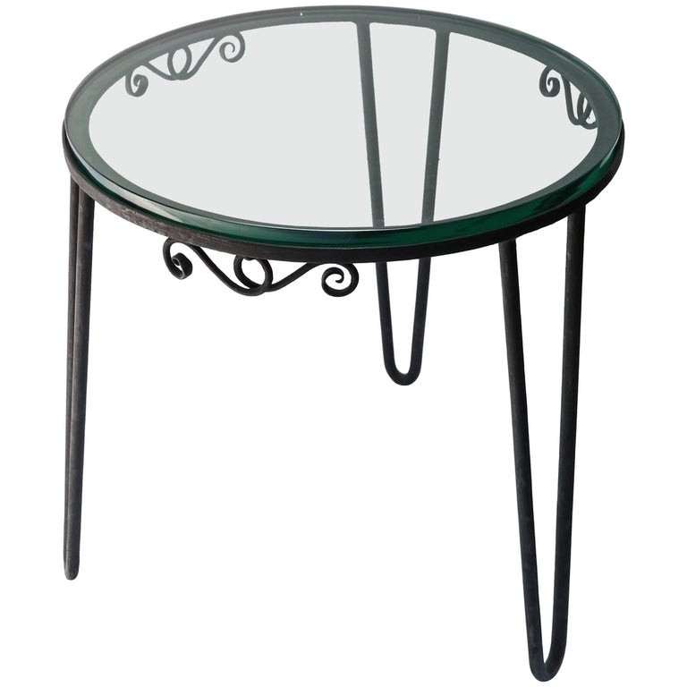 Round Metal 1960s Italian Side Table with Glass Top For Sale