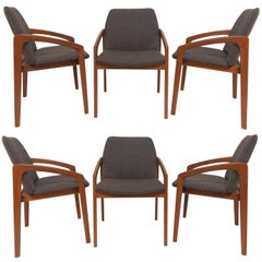 Set of Six Kai Kristiansen Danish Teak Dining Chairs, circa 1960s