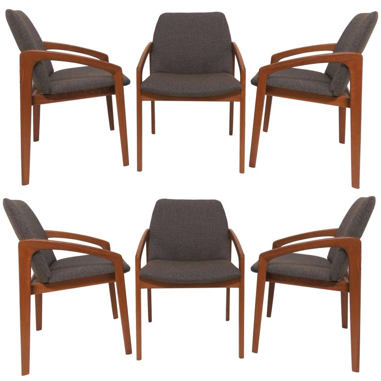 Set of Six Kai Kristiansen Danish Teak Dining Chairs, circa 1960s