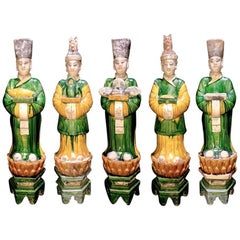 Superb Set of 5 Elegant Court Attendants, Ming Dynasty, 1368-1644 AD  TL Tested