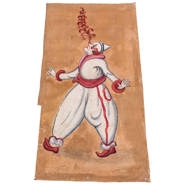 Vintage Circus or Sideshow Hand-Painted Giant Clown Banner, circa 1940s For Sale