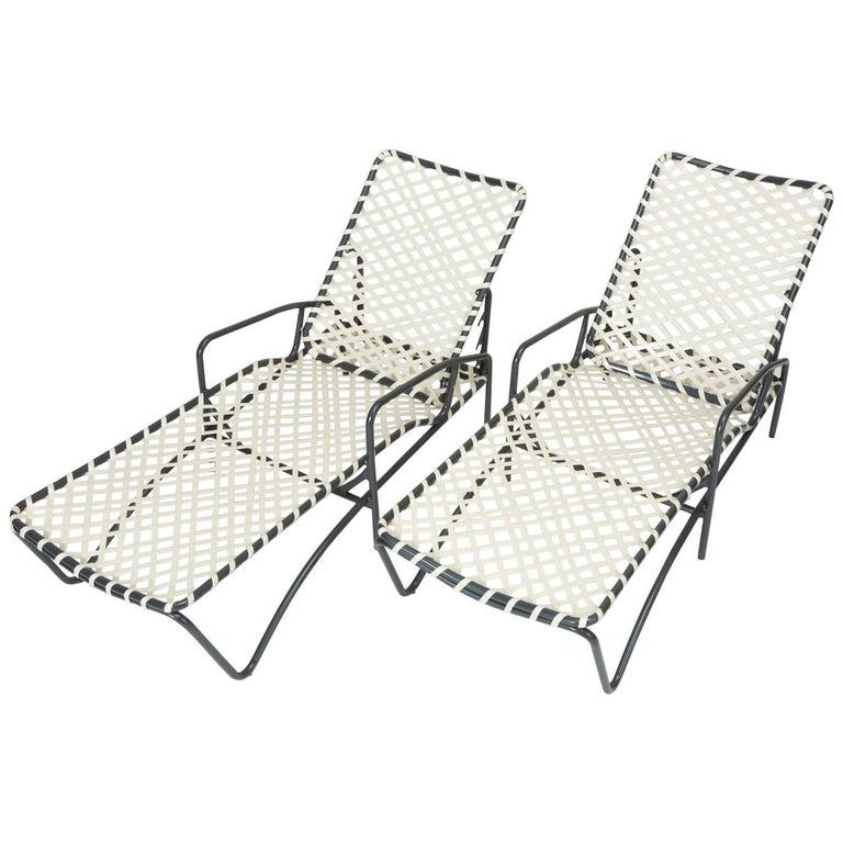 "Pair of Brown Jordan ""Tamiami"" Adjustable Patio Chaise Lounges"