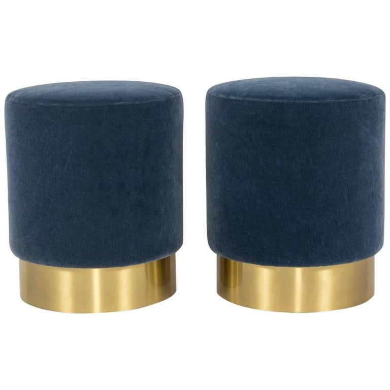Pair of Custom Pouf Ottomans