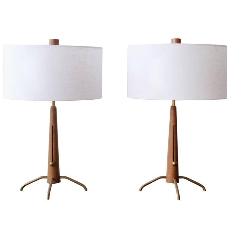Walnut and Brass Gerald Thurston Adjustable Height Lamps