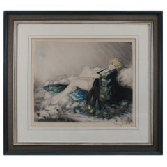 """Signed French Print after """"Le Robe de China"""" Etching, Louis Icart, Paris"""
