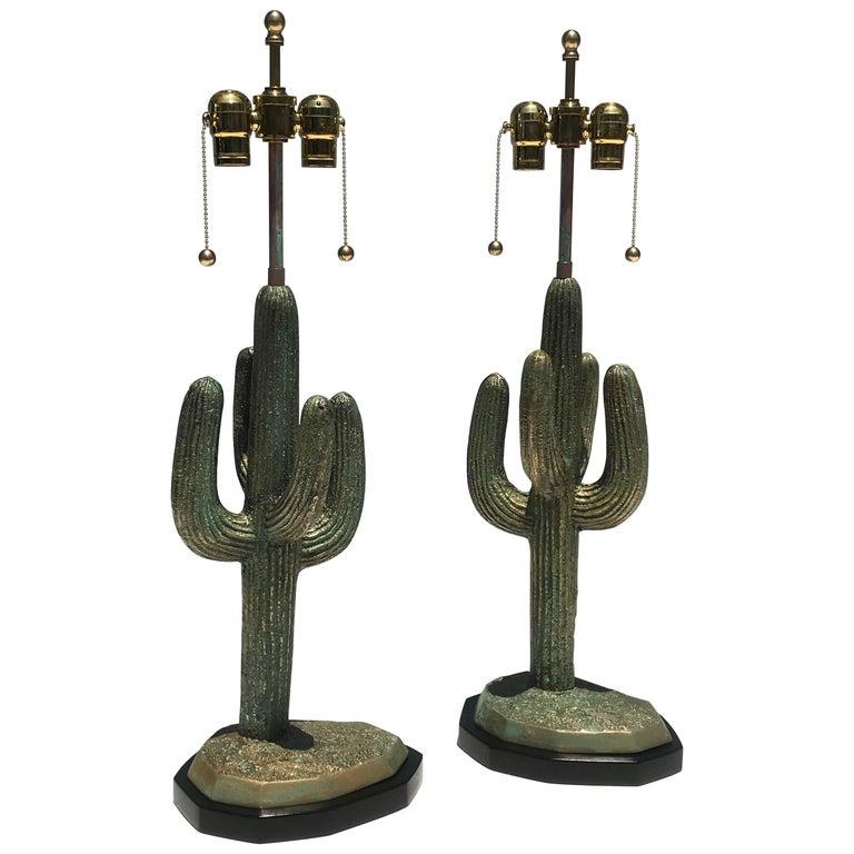 Pair of Verdigris Patina Brass Cactus Lamps