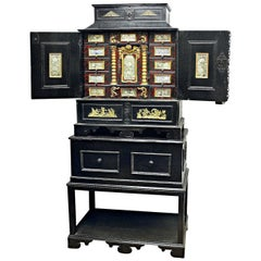 Black 18th Century Flemish Ebonized Cabinet on Stand with Brass Ornamentation