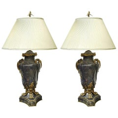 Pair of French 18th Century Lapis Lazuli Bronze Mounted Cassolettes as Lamps