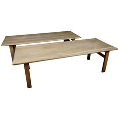 Pair of Borge Mogensen Coffee Table in Solid Oak from Denmark, circa 1970