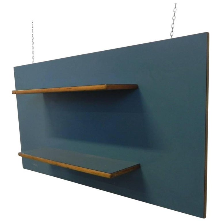Midcentury Oak and Green Formica Italian Wall Bookcase Attributed to Gio Ponti For Sale