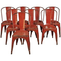 "Set of Six Tolix ""Model A"" Chairs, Designed by Xavier Pauchard, France"