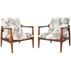 Pair of Armchairs, Palm Tree Leaves Beige Velvet, Edmund Homa, 1960s