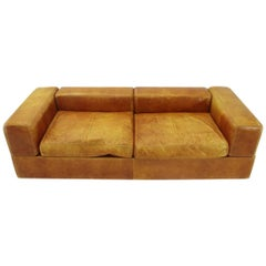 Sofa Bed 711 in Brown Leather by Tito Agnoli for Cinova, 1960s