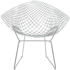 Henry Bertoia Postmodern Steel and Chrome Italian Diamond Chair by Knoll, 1980s