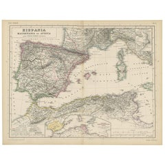Antique Map of Spain, Mauritia and Africa by H. Kiepert, circa 1870