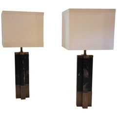 Pair of Table Lamps, Marble and Brass, France, circa 1970