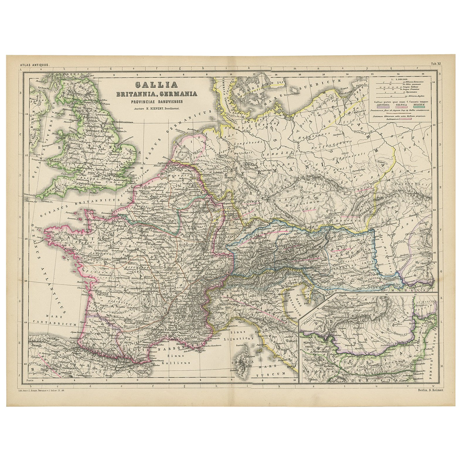 Antique Map of Western Europe by H. Kiepert, circa 1870