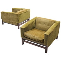 Saporiti Lounge Chairs in Green Velvet and Rosewood