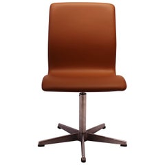 Oxford Office Chair, Model 3171, Cognac Colored Leather by Arne Jacobsen, 1989
