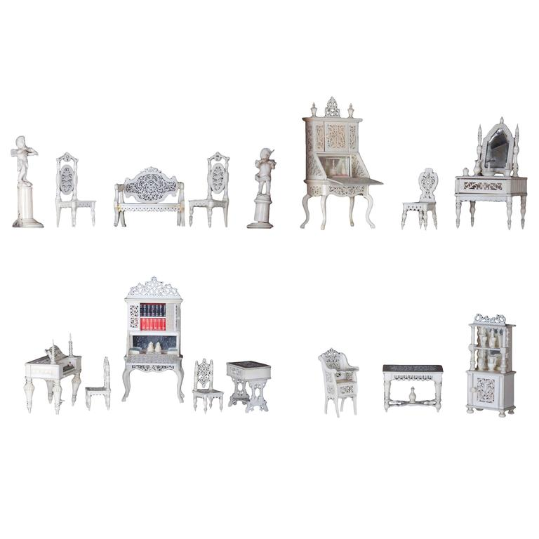 Collection Of Anglo Indian Carved Bone Dollsu0027 House Furniture, Circa 1900  For Sale