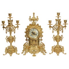Antique French Gilt Bronze Clock Set
