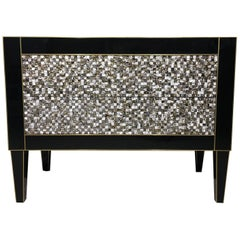 Handmade Mirrored Commode or Chest of Drawers, Volcanic Rock and Brass Inlay