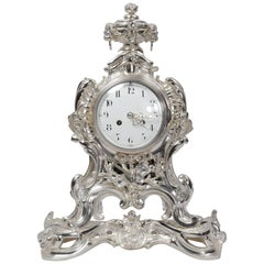 Antique French Silver Rococo Clock ~ Music