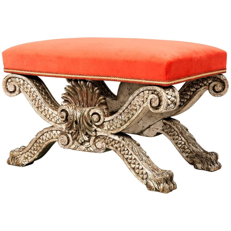 Silver and Red English Stool after a Design by William Kent