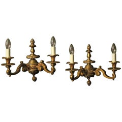 English Pair of Gilded Bronze Late 19th Century Antique Wall Lights