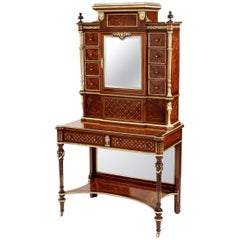 Louis XVI Style Writing Cabinet Vitrine of Amboyna and Blue Velvet Finish