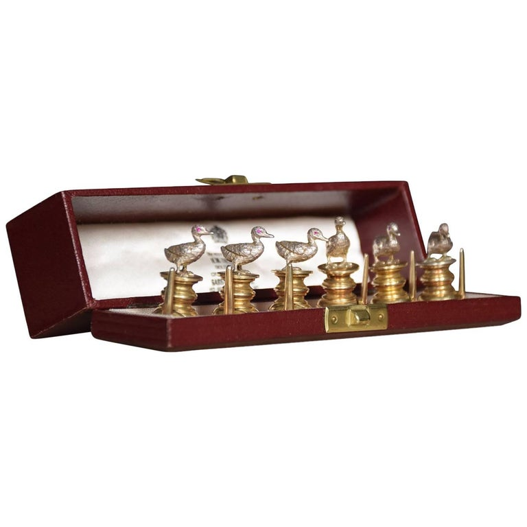 Set of Silver Menu Holders in the Form of Ducks