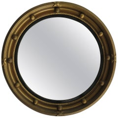 Small Round Convex Wall Mirror, Ribbon and Ball Detail, Regency Style, Ca 1930