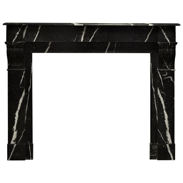 Chic Black and White Marble Fireplace Mantel