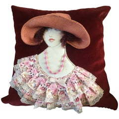 Art Deco French Art Cushion Pillow, 1920s Woman Handwoven Decor, Velvet Lace