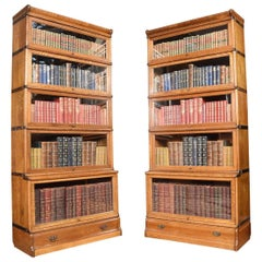 Pair of Oak Globe Wernicke Five Section Bookcases