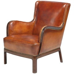 Frits Henningsen Cognac-Color Armchair Reupholstered for Another 75 Years