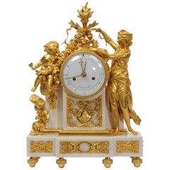 Fine Louis XVI Ormolu and Marble Clock by Nicolas-Alexandre Folin
