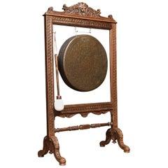Late 19th Century Carved Oak Framed Dinner Gong