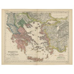 Antique Map of Greece and the Islands by H. Kiepert, circa 1870