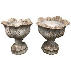 Pair of English Acanthus-Leaf Cast Stone Urns