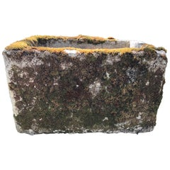 Small French Mossy Hand-Carved Limestone Trough