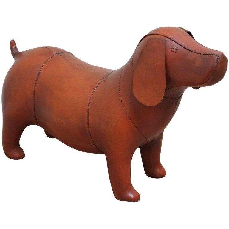 Vintage Omersa Leather Beagle Dog, Dachshund