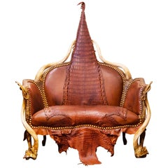 Crocodile Brown Sofa with Real Nile Crocodile Skin and Natural Horns